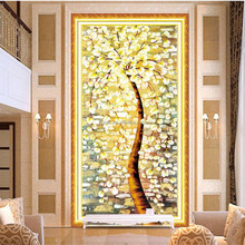 Gold tree canvas print 3D crystal diamond painting art