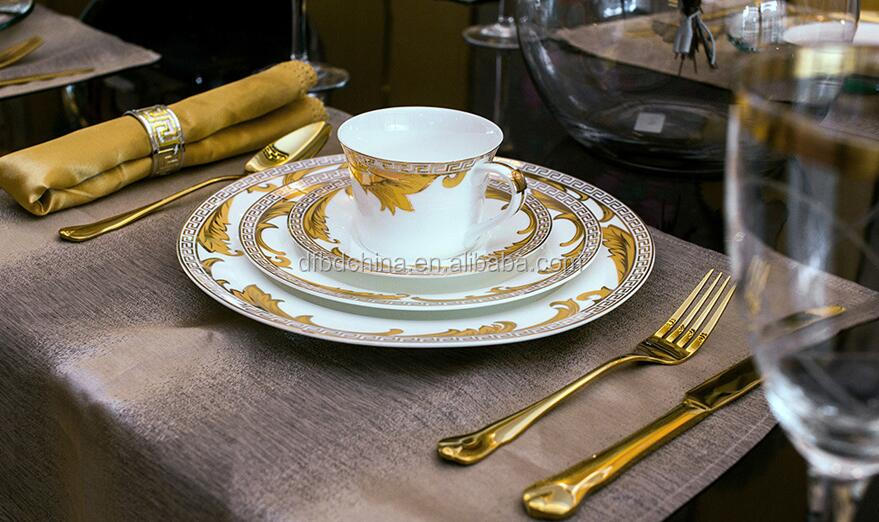 luxury royal dinner plates bone china round dinner plates ceramic dinner plates with napkin and cutlery