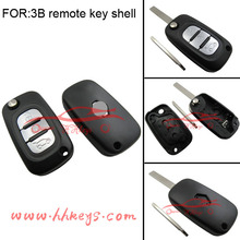 Car flip key case replacement key blank for Renault 3 button with logo