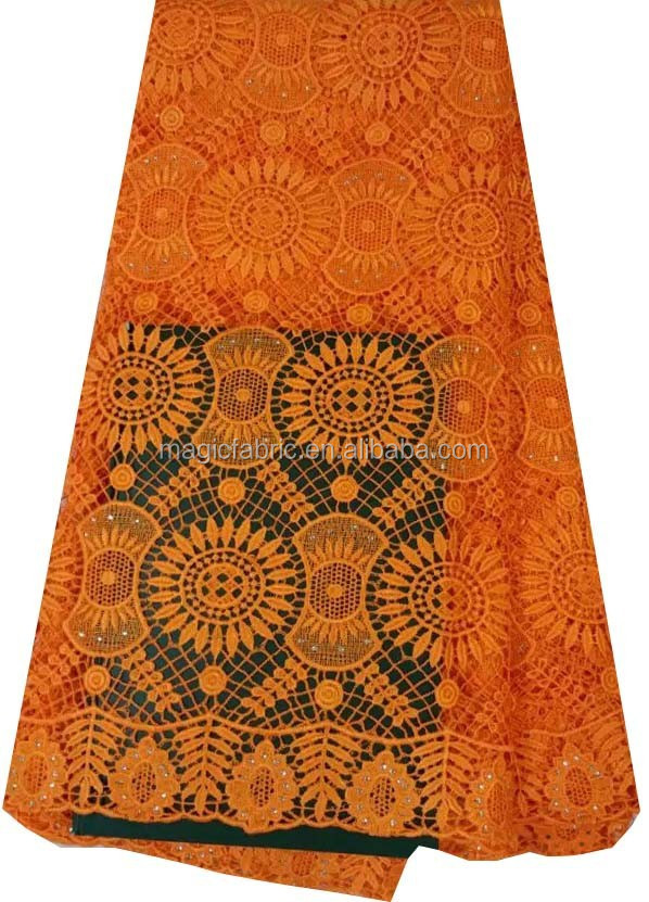 Beautiful orange embroidery laces fabrics/guipure lace fabric/lace fabric cord stones