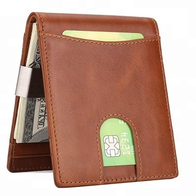 Wholesale smart front pocket long mens Genuine Leather minimalist slim <strong>wallet</strong>
