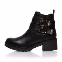 NR005 2017 Fashion Medium Heel Leather Women Ankle Boots