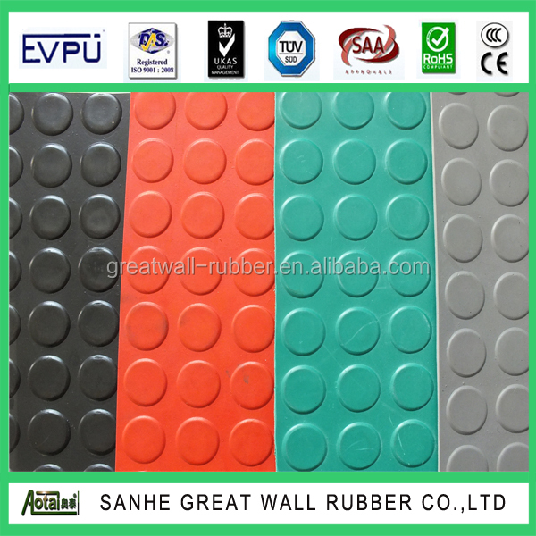 High strength 200% GW3001 Colorful Rubber Coin Stud Round Button Pattern Flooring mat A Grade SGS ISO90001