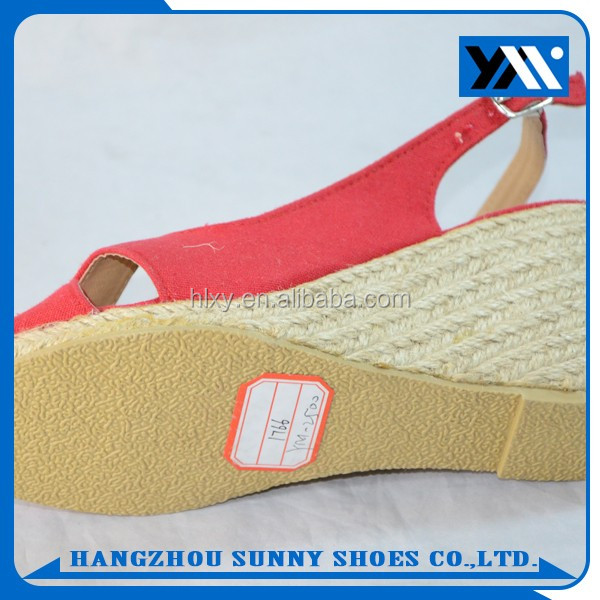 Hot selling hemp red rope wedge sole ladies sandals with buckles for summer