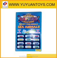 Novelty design 12 pcs soft expanding foam sea animal model water growing animal toy for kids