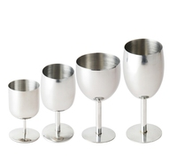 bar restaurant 160ml 260ml 300ml 6oz 9oz 11oz single wall stainless steel metal wine cups goblet