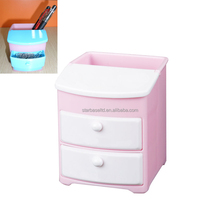 Hot selling plastic desk pen stand with small drawers