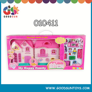 Latest hot selling beautfiul miniature kids wooden doll house indoor with small furniture set for kids play