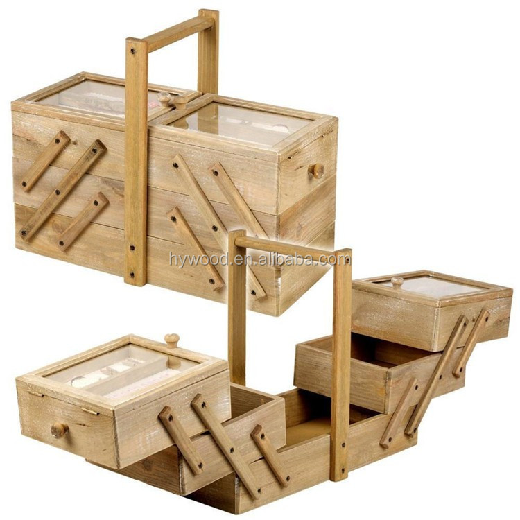 portable 3 tier adjustable folding Large Vintage Antique Cantilever Storage Organizer Boxes Wooden Sewing Thread Box for sale