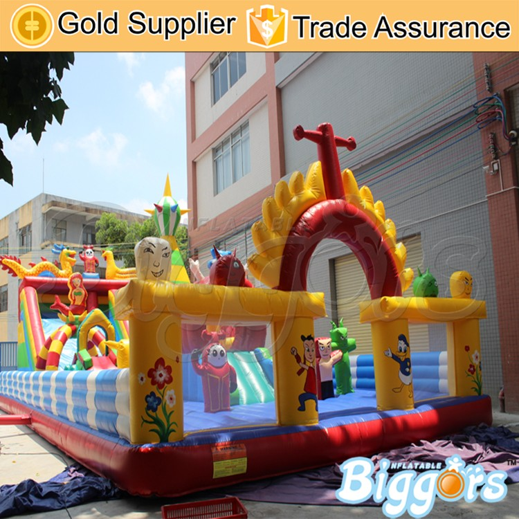 Inflatable Amusement Park Fun City Bouncers With Slide For Rental