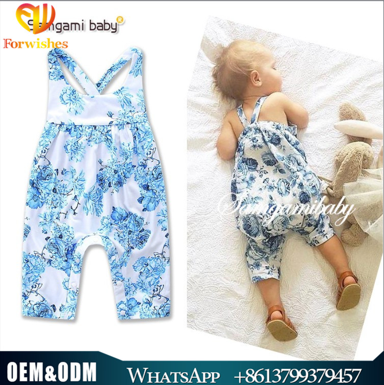 INS hot sale infant toddler apparel 0-2year baby clothes bodysuits blue floral backless cotton baby girl romper