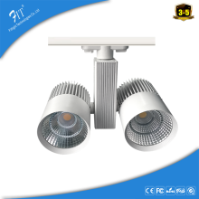 CRI>90/95ra flicker free Aluminum Alloy Lamp Body Material double Head Led Track Light Fixture 20w 40w tracklight led