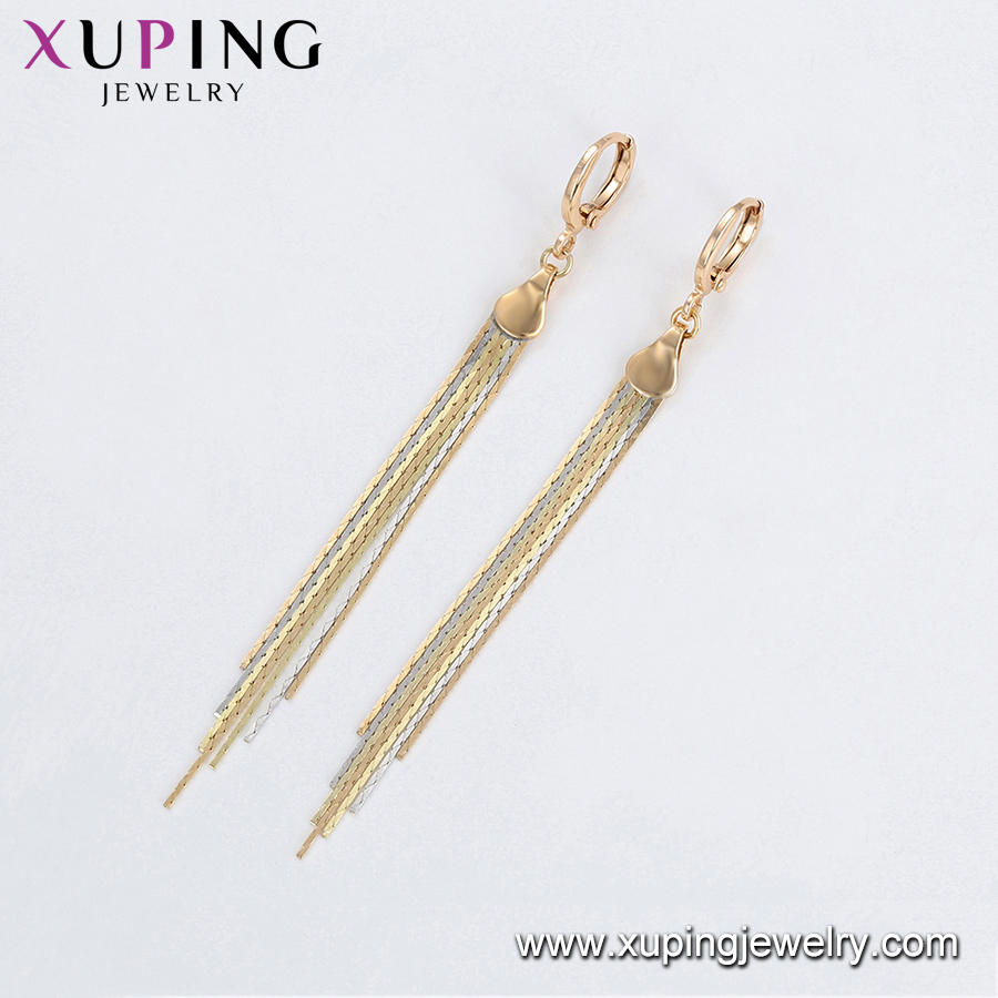 97247 Xuping long tassel gold designs fashion khazana drop earring designs