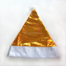 Yiwu factory wholesale color unique christmas santa hat custom gold christmas hat