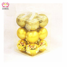 7CM gold shiny +matt +glitter plastic christams ball/xmas ball set