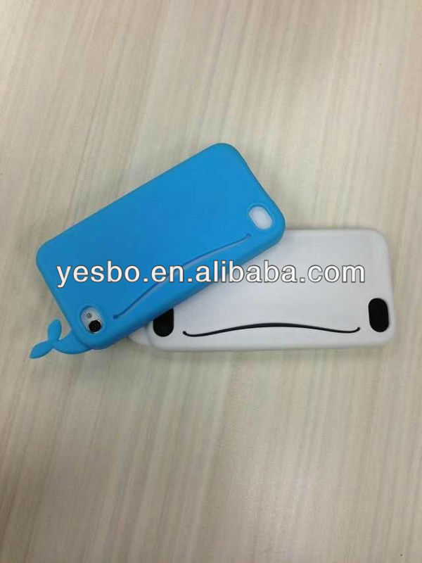 new brand 3D lovely whale silicon case for iphone 4s 5g with card slot