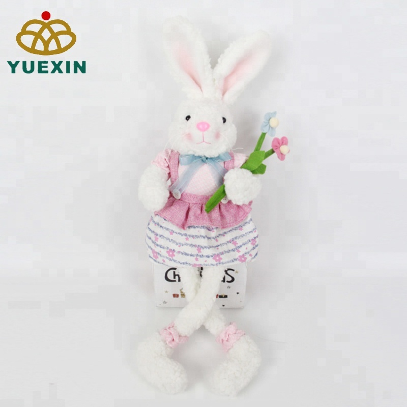 21 Inch Pink Easter Plush Sitting Long Legs Bunny <strong>Rabbit</strong> with Flowers