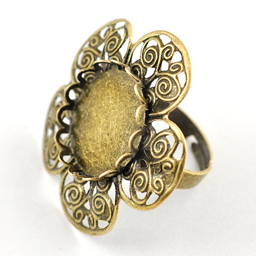 Unadjustable Blank Rings Oval Bezel Rings Antique Vintage Brass