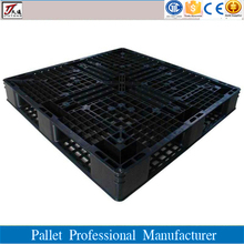 Recycled virgin single faced black plastic pallet for warehouse storage