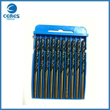 6.0mm HSS two color straight shank twist drill bit set for metal <strong>drilling</strong> with DIN338 standard 10 pcs in box packing