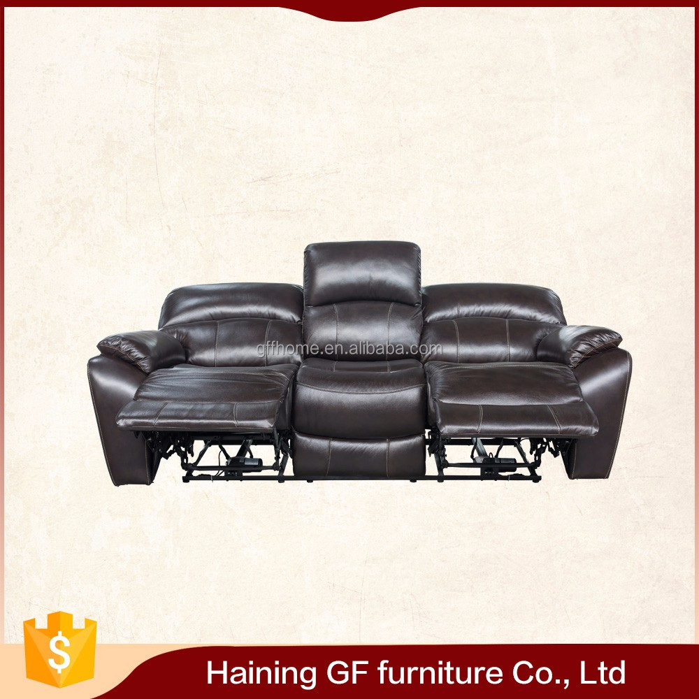 Indian style living room furniture 3 seat recliner modern leather sofa