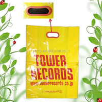High quality polythene carrier bag with punched hole handle