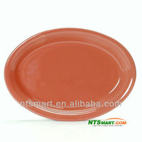 Restaurant Durable Colorful Paint Porcelain Oval Plate
