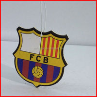 paper cardboard package football club car air freshener