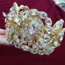 Retro Palace Style Shining Rhinestone Romantic Hair Combs Gold Plated Baroque Wedding Tiara Noble Princess Crown