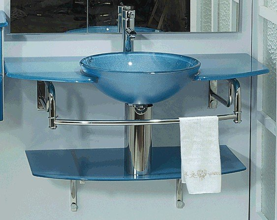 Exquisite Glass Basin With Chrome Towel Rung