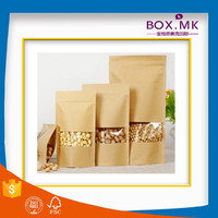 2016 Popular Top Zip Lock Nuts Food Grade Kraft Brown Paper Bag For Chip