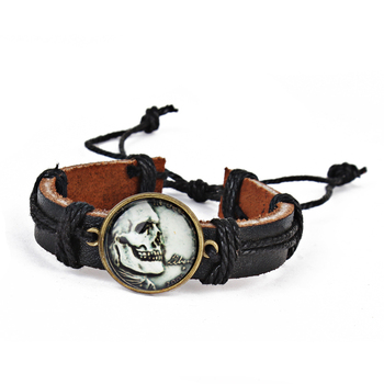 Wholesale men's fashion skull monogram leather belt bracelet halloween jewelry