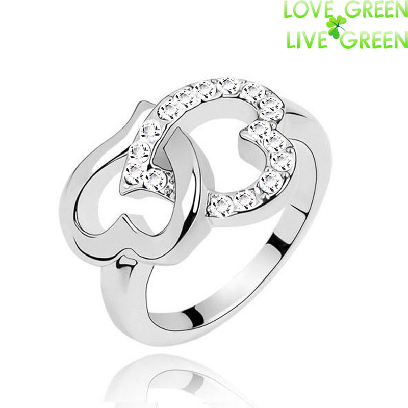 new brand lover gift promise ring 18K white gold Austrain Crystal rhinestones Heart Finger Couple Ring fashion jewelry 4022