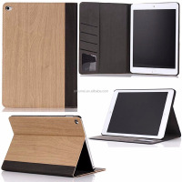 Slim premium flip PU wood grain cover folding folio stand auto sleep& weak case with card slot for iPad air 1, 2