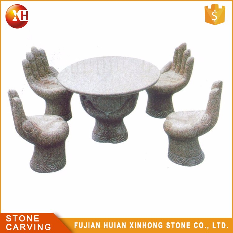 Natural Granite Carved Hand Shaped Stone Table And Chairs