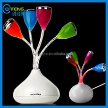 Vase With Flower USB hub 4 Port LED Lighted Tulip Flower