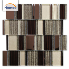 Cheap Shinning Sand Strip Shape Brown Color Never Fade Away Wall Glass Mosaic