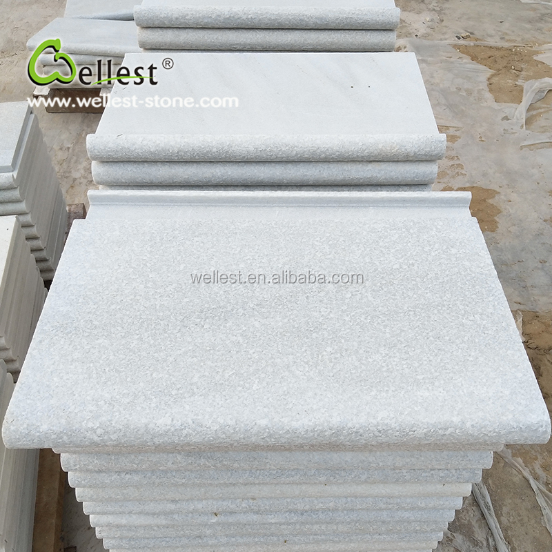 Pure White Quartzite Bullnose Drop Face Coping with Flamed FInish For Interior and Exterior Swimming Pool