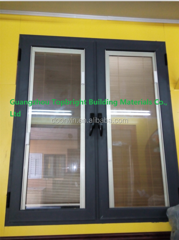 Guangzhou commerical french casement window with blinds