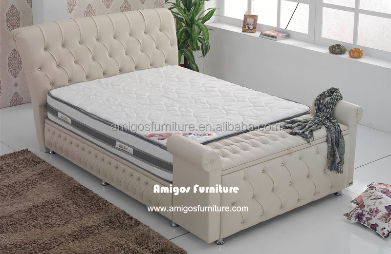 luxury diamond white furniture bed