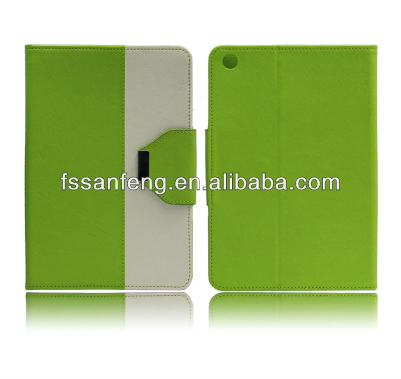 New green stand leather wallet case for ipad mini,for ipad mini wallet case with belt clip