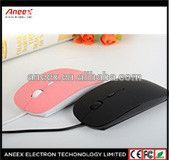 Good design super slim mouse ,new flat mouse wired or wireless with light Logo