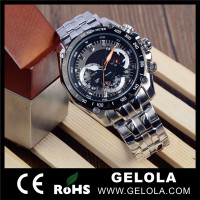 Mens Waterproof stainless steel back geneva quartz watches with Japan movt CE&ROHS