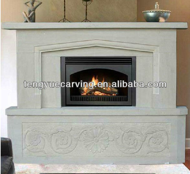 western style fireplace mantel of white marble fireplace