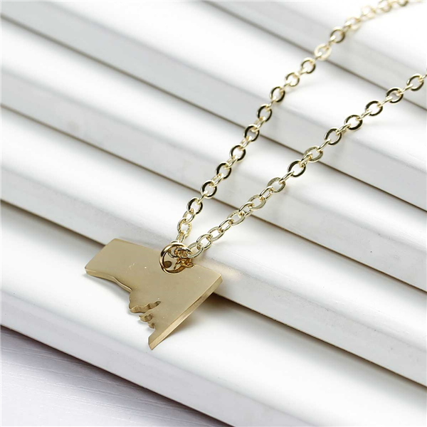 New Fashion 304 Stainless Steel Silhouette Map South Australia State Charm Necklace Link Cable Chain 18K Gold Plated
