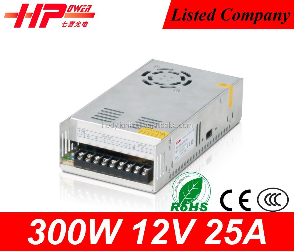 China manufacturer factory price high efficiency constant voltage single output 25a 12v 300w constant current <strong>source</strong>