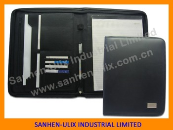 Business conference custom a4 pu leather expandable portfolio folder with zipper pen loop conference folder portfolio