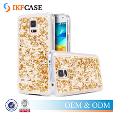 Bling Gold Foil Sequin Soft TPU Silicone Phone Case For Samsung Galaxy S5 I9600 Fashion Dirt-resistant Clear Cover