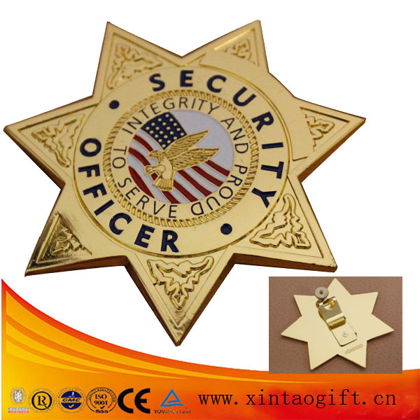 America Security Serve gold badge clip safety pin