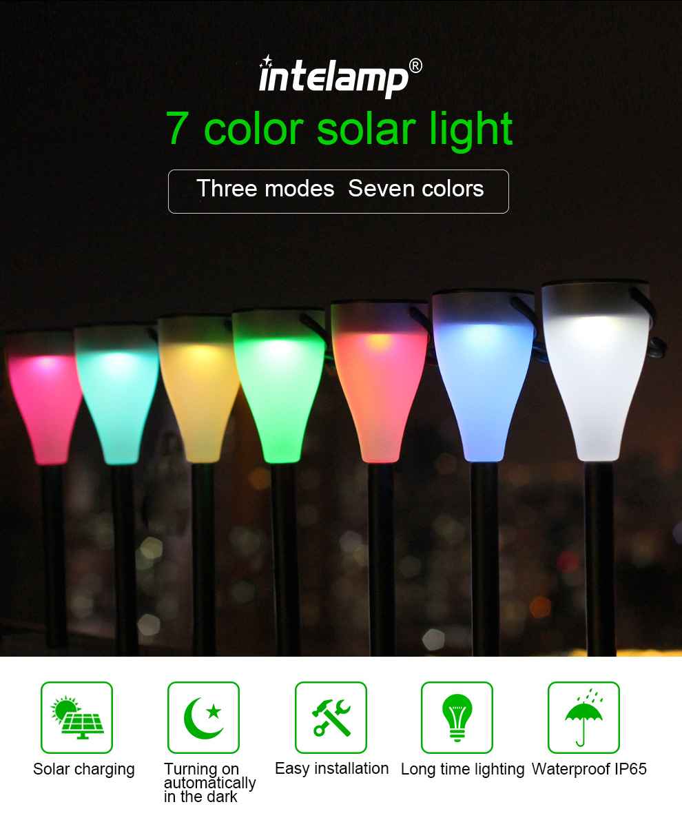 7 Color Changing Solar Lawn Light Perfect Decoration Lighting for Garden Pathways & Flower Beds, Yard